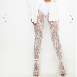 White Sheer Lace High Waisted Flare Pants